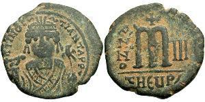 1 Follis Byzantine Empire (330-1453) Bronze Maurice Tiberius (539-602)