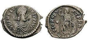 1 Follis /  AE3 Empire byzantin (330-1453) Argent Anastase I (430-518)