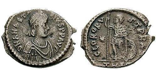 1 Follis /  AE3 Impero bizantino (330-1453) Argento Anastasio I (430-518)