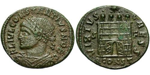 1 Follis /  AE3 Imperio romano de Occidente (285-476) Bronce Constancio II (317 - 361)