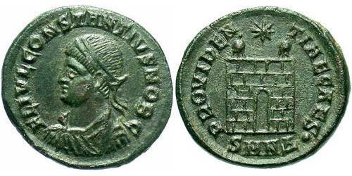 1 Follis /  AE3 Empire romain (27BC-395) Bronze Constance II (317 - 361)