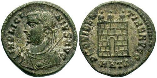 1 Follis /  AE3 Empire romain (27BC-395) Bronze Licinius I (265-324)
