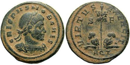 1 Follis /  AE3 Empire romain (27BC-395) Bronze Crispus (305 - 326)