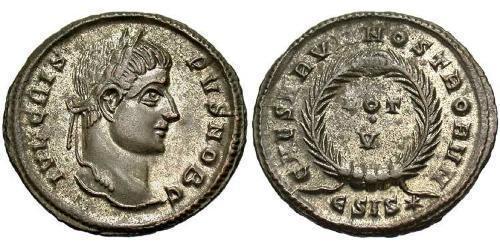 1 Follis /  AE3 Empire romain (27BC-395) Bronze Crispus (305 - 326)