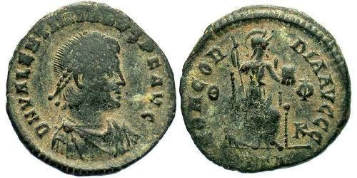 1 Follis /  AE3 Roman Empire (27BC-395) Bronze Valentinian II (371-392)