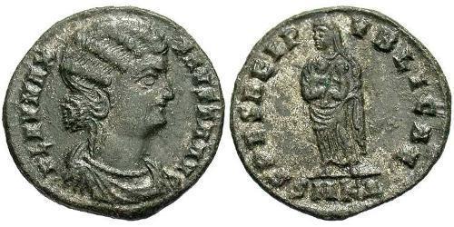 1 Follis /  AE3 Roman Empire (27BC-395) Bronze Fausta (289-326)