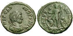 1 Follis /  AE3 Weströmisches Reich (285-476) Bronze Arcadius (377-408)