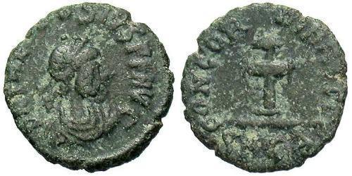 1 Follis /  AE4 Imperio bizantino (330-1453) Bronce Teodosio II (401-450)