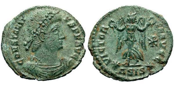 1 Follis /  AE4 Römische Kaiserzeit (27BC-395) Bronze Constantius II(317 - 361)
