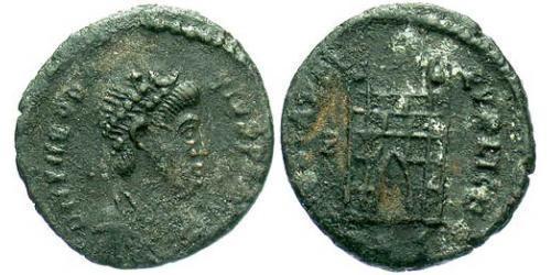 1 Follis /  AE4 Roman Empire (27BC-395) Bronze Theodosius I (347-395)