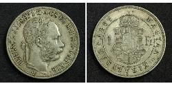 1 Forint Imperio austrohúngaro (1867-1918) Plata Franz Joseph I (1830 - 1916)
