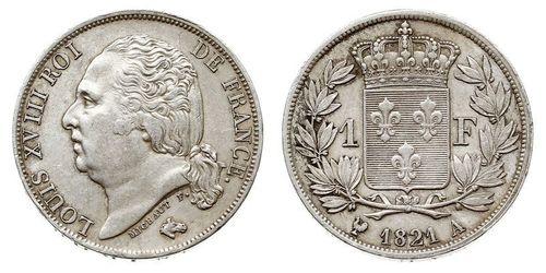 1 Franc 波旁复辟 / 法国 銀 路易十八 (1755 - 1824)