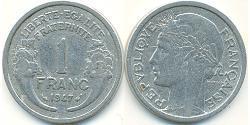 1 Franc Frankreich Aluminium