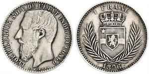 1 Franc État indépendant du Congo (1885 - 1908) Argent Leopold II (1835 - 1909)
