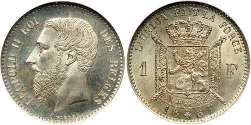 1 Franc Belgique Argent Leopold II (1835 - 1909)