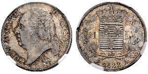 1 Franc Kingdom of France (1815-1830) / France Argent Louis XVIII de France  (1755-1824)