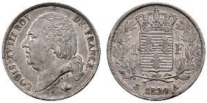 1 Franc Kingdom of France (1815-1830) / Francia Argento Luigi XVIII di Francia (1755-1824)