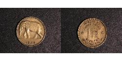 1 Franc Belgian Congo (1908 - 1960) Brass