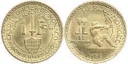 1 Franc Monaco Bronze Louis II Prince of Monaco (1870-1949)