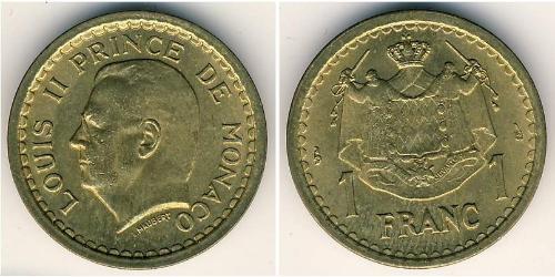 1 Franc Monaco Bronze/Aluminium Louis II de Monaco (1870-1949)