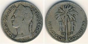 1 Franc Belgian Congo (1908 - 1960) Copper/Nickel