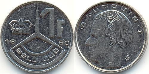 1 Franc Belgium Copper/Nickel