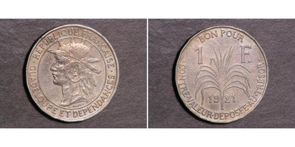 1 Franc Guadeloupe Copper/Nickel