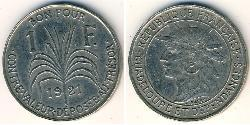 1 Franc Guadeloupe Kupfer/Nickel