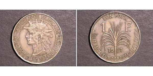 1 Franc Guadalupe Níquel/Cobre