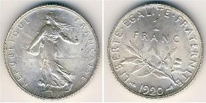 1 Franc Tercera República Francesa (1870-1940)  Níquel/Plata