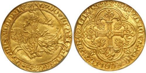1 Franc Condado de Flandes (862-1795) Oro Luis II de Flandes (1330- 1384)