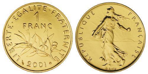 1 Franc Quinta República Francesa (1958 - ) Oro
