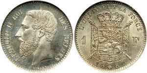 1 Franc Bélgica Plata Leopold II (1835 - 1909)