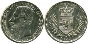 1 Franc Estado Libre del Congo (1885 - 1908) Plata Leopold II (1835 - 1909)