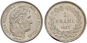 1 Franc Monarquía de Julio (1830-1848) Plata Luis Felipe I de Francia  (1773 -1850)