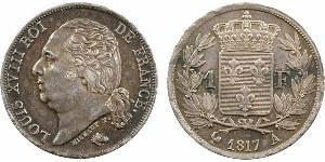 1 Franc Reino de Francia (1815-1830) / Francia Plata Luis XVIII de Francia (1755-1824)