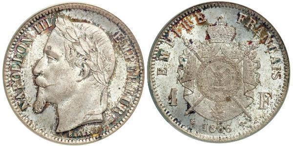 1 Franc Segundo Imperio francés (1852-1870) Plata Napoleon III (1808-1873)