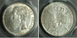 1 Franc Belgium Silver Leopold II of Belgium(1835 - 1909)