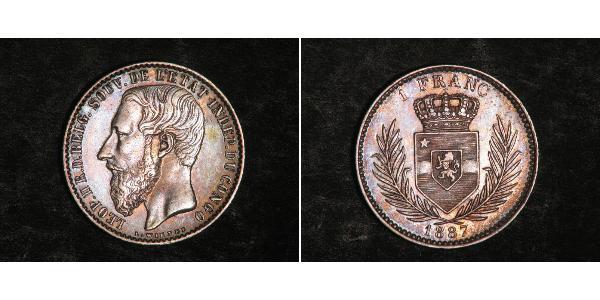1 Franc Congo Free State (1885 - 1908) Silver Leopold II of Belgium(1835 - 1909)