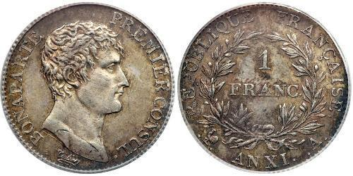 1 Franc First French Empire (1804-1814) Silver Napoleon (1769 - 1821)