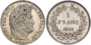 1 Franc July Monarchy (1830-1848) Silver Louis Philippe I of France (1773 -1850)