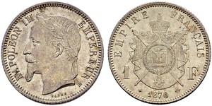 1 Franc Second French Empire (1852-1870) Silver Napoleon III (1808-1873)