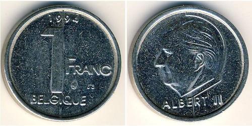 1 Franc Belgium Steel/Nickel Albert II of Belgium