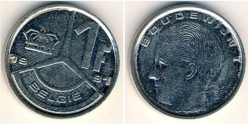 1 Franc Belgium Steel/Nickel