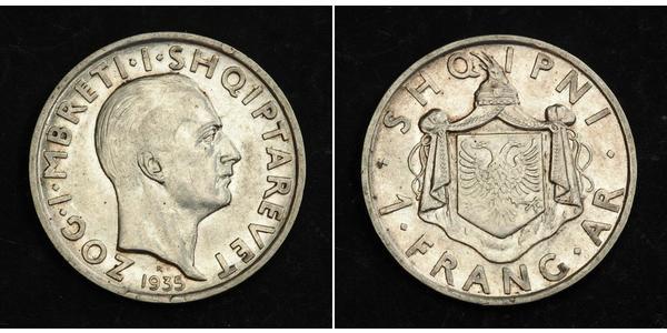 1 Franga Ari 阿尔巴尼亚王国 (1928 - 1939) 銀 Zog I, Skanderbeg III of Albania