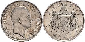 1 Franga Ari Albanian Kingdom (1928-1939) Argent Zog I, Skanderbeg III of Albania