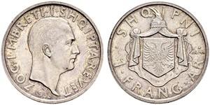 1 Franga Ari Regno albanese (1928-1939) Argento Zog I, Skanderbeg III of Albania