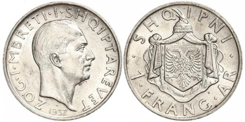 1 Franga Ari Reino de Albania (1928-1939) Plata Zog I, Skanderbeg III of Albania