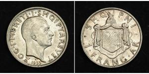 1 Franga Ari Königreich Albanien (1928-1939) Silber Zog I, Skanderbeg III of Albania