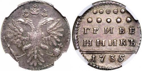 1 Grivennik / 10 Kopeck Empire russe (1720-1917) Argent Anna Ivanovna (1693-1740)